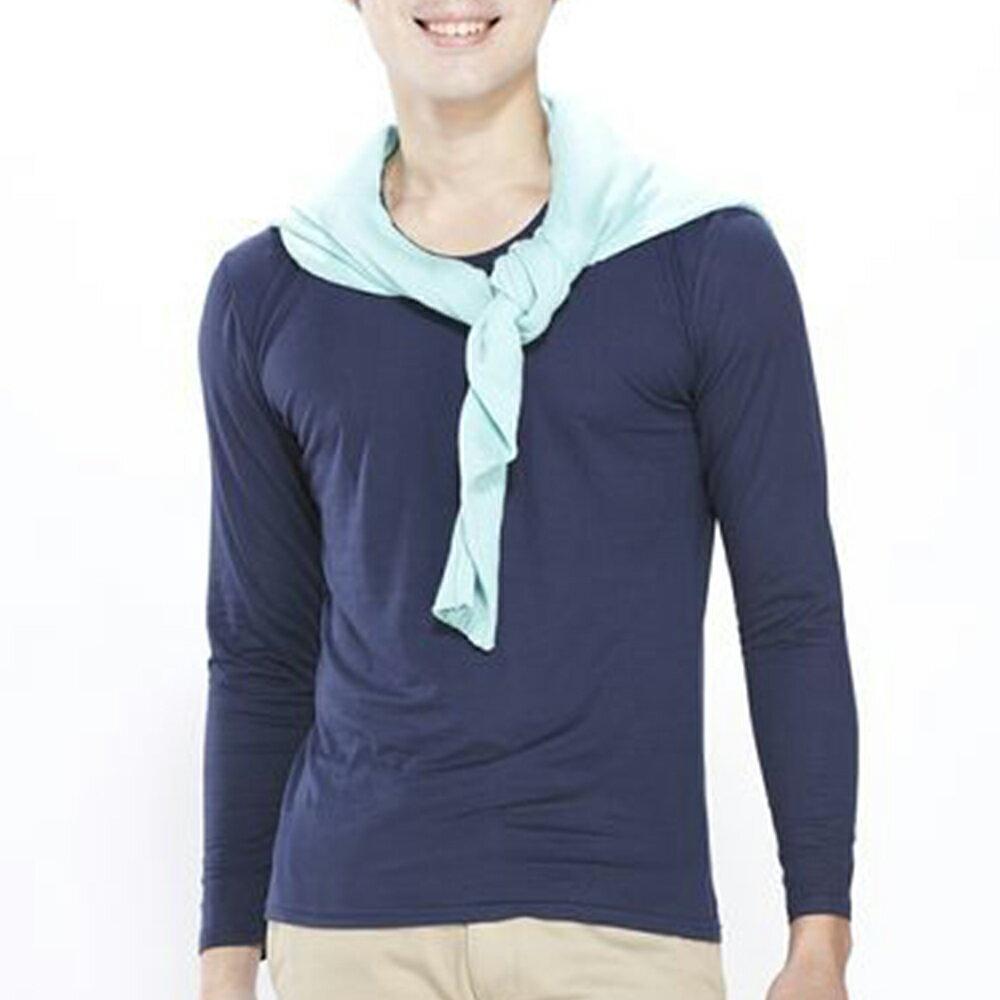 男保暖長袖上衣-輕摩毛系列-圓領-丈青-1件