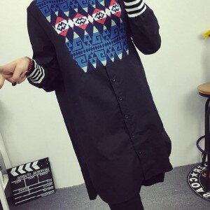 美麗大街【IR2124】民族風菱格圖騰長袖連衣裙長袖洋裝