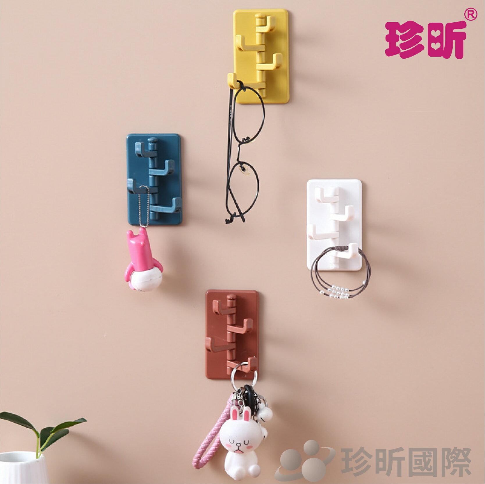【珍昕】創意無痕掛鉤(約長9.5*寬5.5cm)~4色隨機出貨/廚房壁掛/浴室門鉤/免打孔/牆壁掛鉤