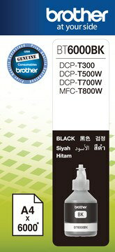 Brother BT6000BK墨水6000張黑色 適用型號:DCP-T300、DCP-T500W、DCP-T700W、MFC-T800W全新原廠公司貨含稅附發票