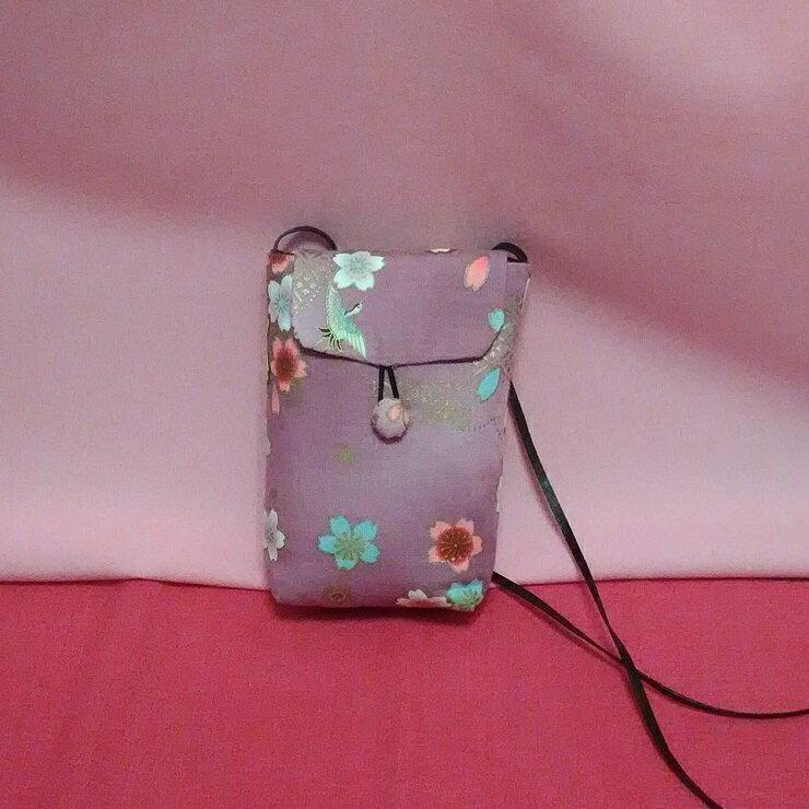 <br/><br/>  櫻花粉手機袋, 雙層手作布包<br/><br/>