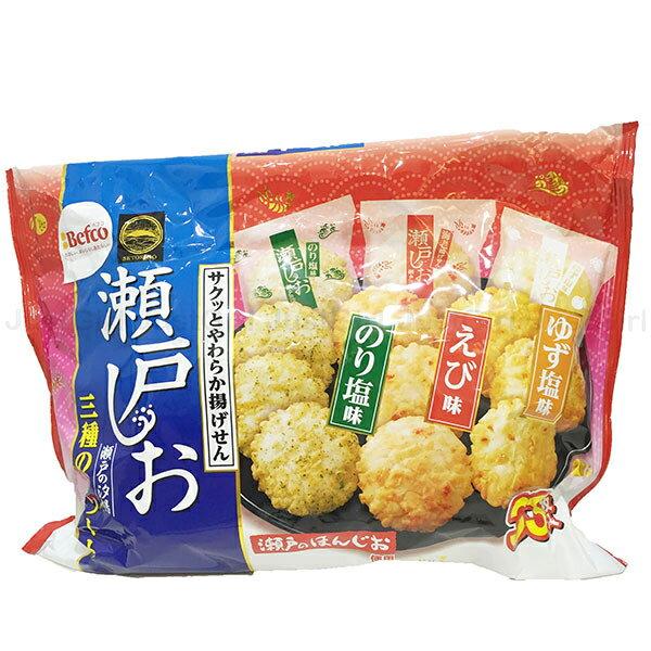 日本 Befco栗山米果 瀨戶汐揚仙貝 綜合米果 33入 海苔鹽 柚子鹽 蝦味 食品 日本製造進口 JustGirl