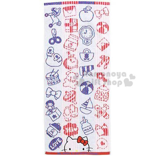 〔小禮堂〕Hello Kitty 棉紗長毛巾《紅藍條紋.白底.大臉.牛奶罐.小皮球》34x80cm