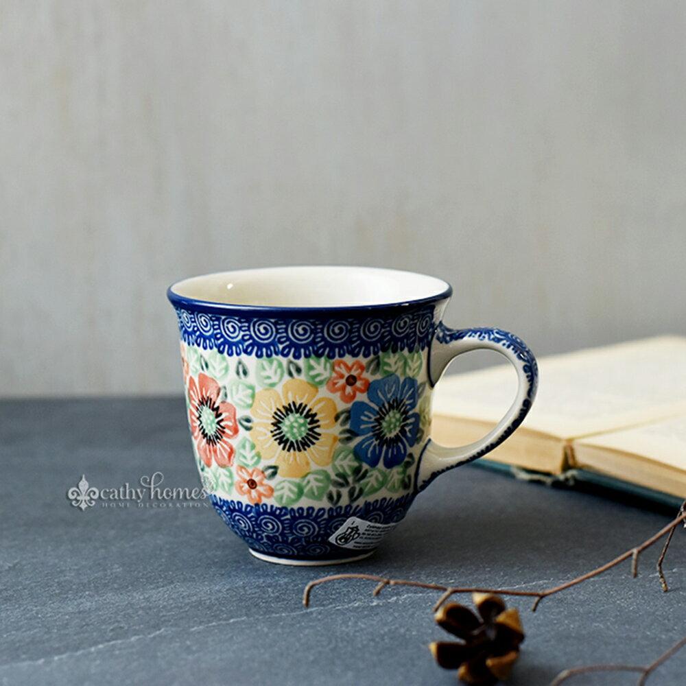 凱西生活 手工波蘭陶-茶杯(小) 0.3L #U1478 馬克杯 茶杯 水杯 把手杯