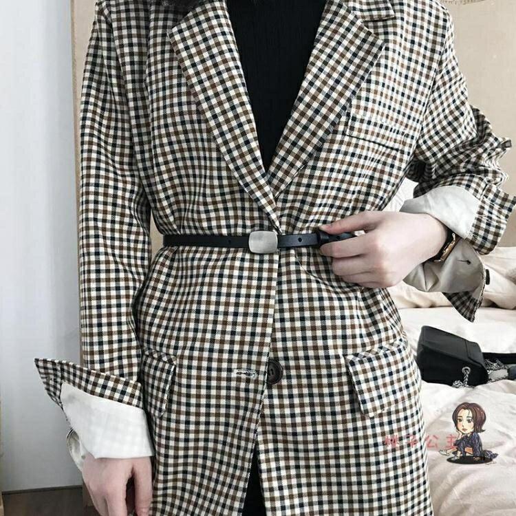 腰封 韓國新款chic風大衣裝飾小皮帶皮暗釦復古細腰帶洋裝褲帶女 2色
