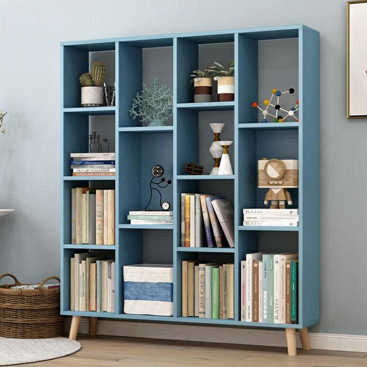 書架耐家書架落地簡易置物架實木收納北歐小書櫃簡約現代創意學生書架