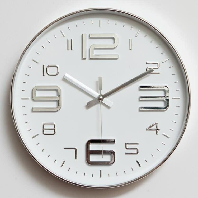 掛鐘 靜音掛鐘客廳現代簡約大氣臥室12英寸鐘辦公室創意石英鐘