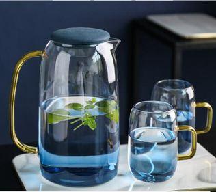 日式冷水壺涼水壺北歐家用玻璃水壺耐高溫大容量涼水杯套裝
