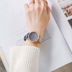 流行女錶 韓版手表女學生簡約學院風小清新防水皮帶百搭休閒森女系手錶