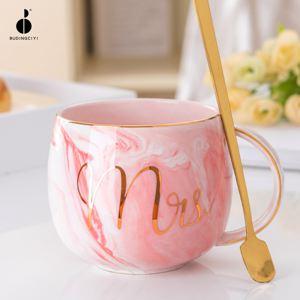 杯子 創意北歐ins陶瓷杯子帶蓋勺馬克杯可愛女水杯家用情侶對杯咖啡杯