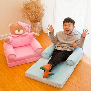兒童摺疊小沙發卡通可愛男孩女孩懶人躺座椅寶寶凳子幼兒園可拆洗 臺北日光