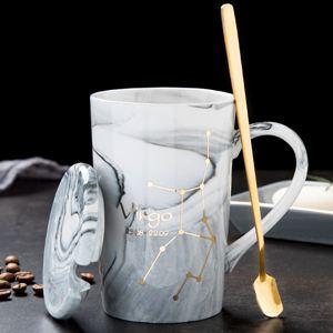 杯子 北歐創意陶瓷杯子十二星座馬克杯帶蓋勺情侶咖啡杯男女家用水杯