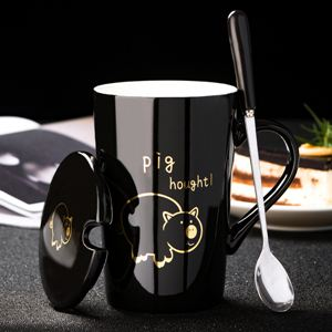 杯子 創意生肖可愛陶瓷杯子情侶水杯卡通馬克杯帶蓋勺咖啡個性潮流茶杯