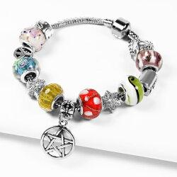 【馥瑰馨盛X A1寶石】潘朵拉元素日本頂級時尚-五芒星七脈輪星座琉璃手鍊(含開光加持)4092258