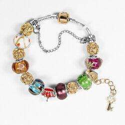 【馥瑰馨盛X A1寶石】潘朵拉元素日本頂級時尚-玫瑰金七脈輪星座琉璃手鍊(含開光加持)4209954