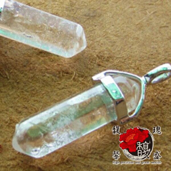水晶【貞潔六角白水晶項鍊】吊墬天然透明成色手作礦物水晶柱開運含開光馥瑰馨盛NS0517