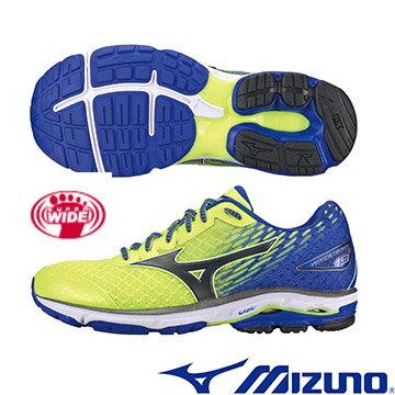 J1GC160490(螢光綠X黑X藍)慢跑鞋的代名詞 WAVE RIDER 19 SW  男超寬楦慢跑鞋 A【美津濃MIZUNO】