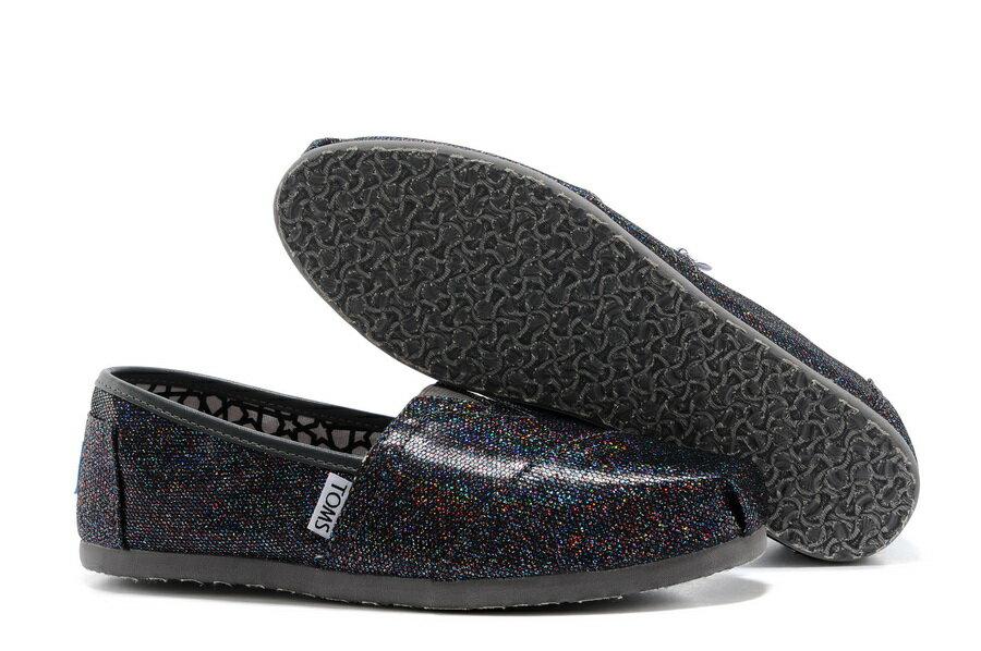 【TOMS】經典亮片款平底休閒鞋(七彩黑色)  Authentic Multi Glitter Women's Classics【全店免運】 4