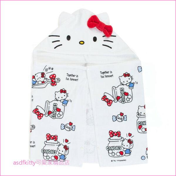 asdfkitty可愛家☆KITTY連帽浴巾毛巾游泳擦乾巾-日本正版商品