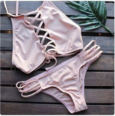 AN66 歐美新款繫帶摟空裸胸性感比基尼兩件式泳衣泳裝 附胸墊