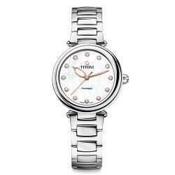 TITONI瑞士梅花錶 炫美系列 23978S-622 珍珠母貝時尚腕錶/銀 33.5mm