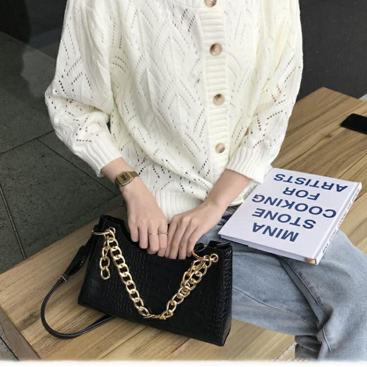 歐美時尚小眾設計腋下包2020新款時髦粗錬條手提包側背斜背包包女