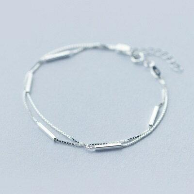 925純銀手鍊手環~簡約秀氣竹節 計生日情人節 女飾品73dp2~ ~~米蘭 ~ ~  好