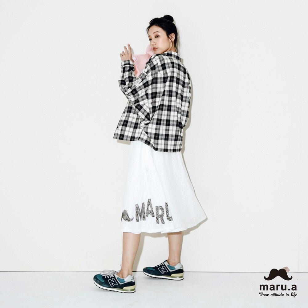 【maru.a】手繪LOGO印花布蕾絲長裙7926212 5
