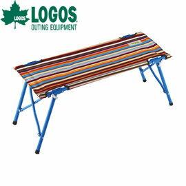日本【LOGOS】條紋親人雙子長凳/情侶雙人長椅/戶外休閒折疊椅/長海灘椅/ 73176003
