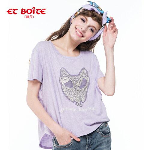 【8折限定↘】ET BOiTE 箱子  Lace繡貓頭鷹寬T(淺紫) 0