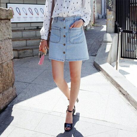 PS Mall 雙口袋排扣加絨加厚學生牛仔半身傘短裙子~T4235~ ~  好康折扣