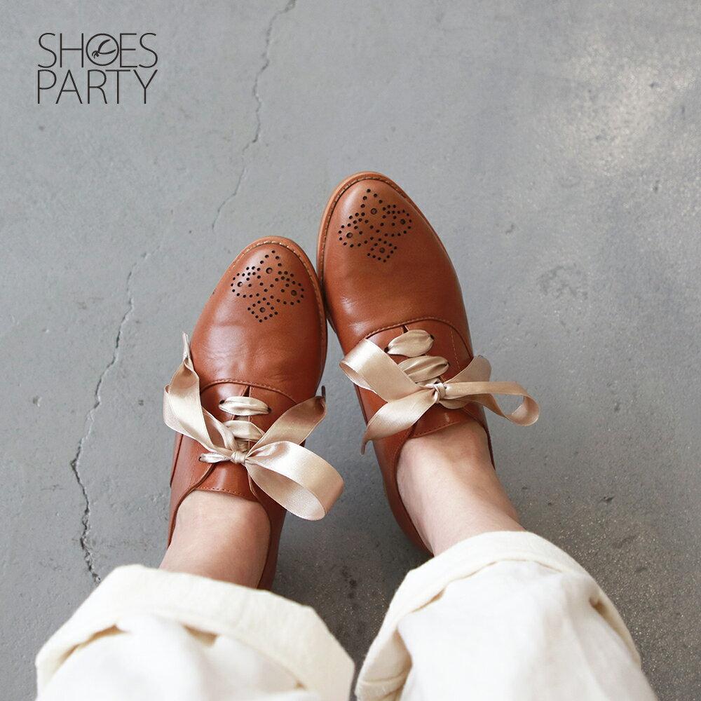 【C2-19306L】經典真皮雕花緞帶牛津鞋_Shoes Party 1