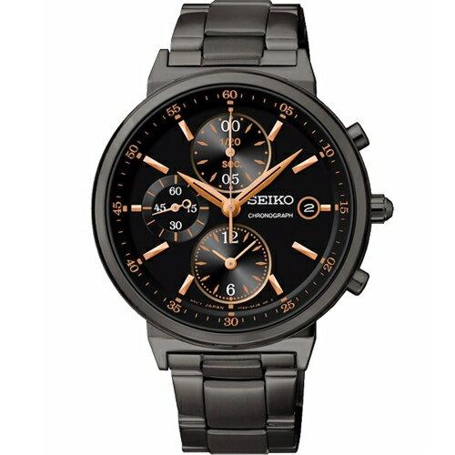 SEIKO CS 時尚休閒風格三眼計時中性腕錶/黑面x黑鋼/36mm/7T92-0RS0SD