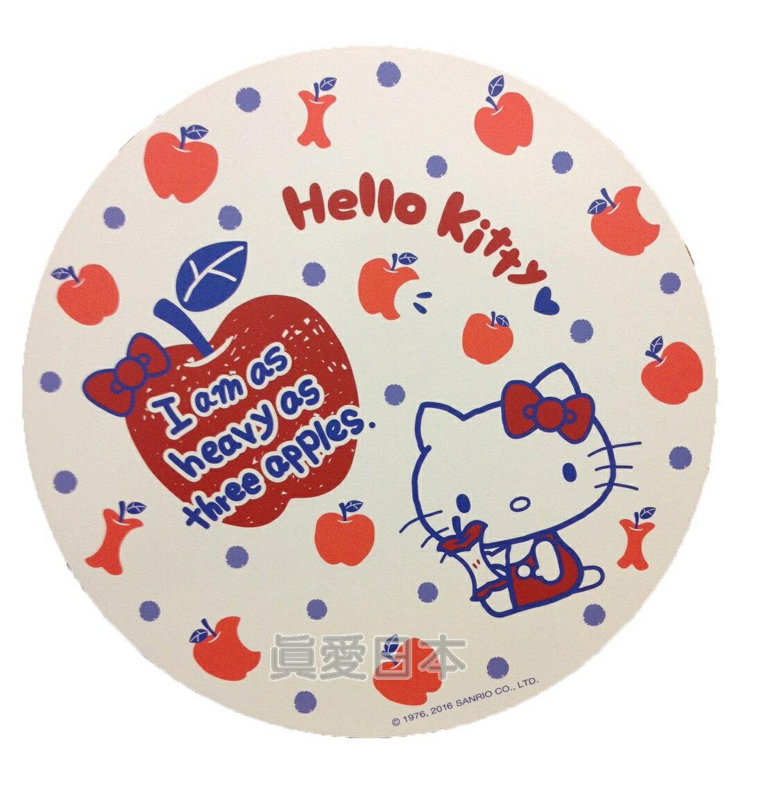 【真愛日本】16042100034環保木製隔熱墊S-蘋果白  三麗鷗 Hello Kitty 凱蒂貓 鍋墊 杯墊 墊子 防滑 正品