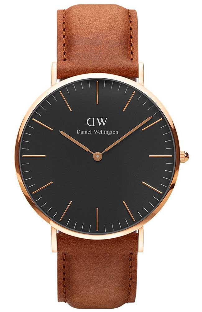 輸入(NS-May-18) 再折100 DW 精品手錶 (保固一年) Daniel Wellington 黑面金框褐錶帶 40mm/36mm