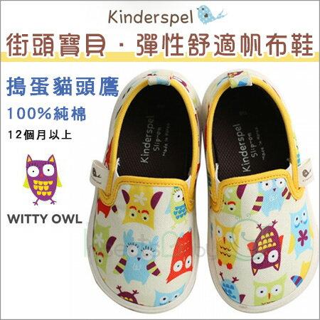 +蟲寶寶+韓國【Kinderspel】街頭寶貝-正韓彈性舒適帆布鞋 (搗蛋貓頭鷹)《現+預》