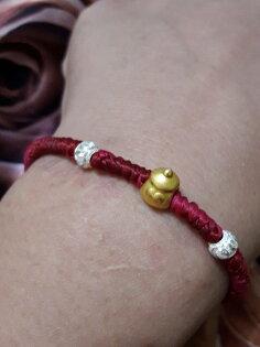 【彌月禮盒】純金9999黃金金奶瓶雙珠造型手鍊重量0.07錢