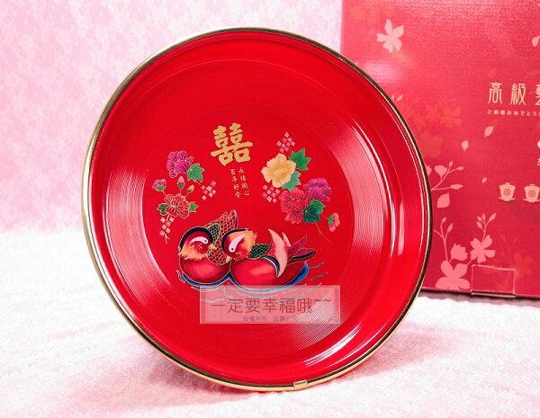 一定要幸福哦~~鴛鴦圖案金邊茶盤、結婚用品、新娘奉茶