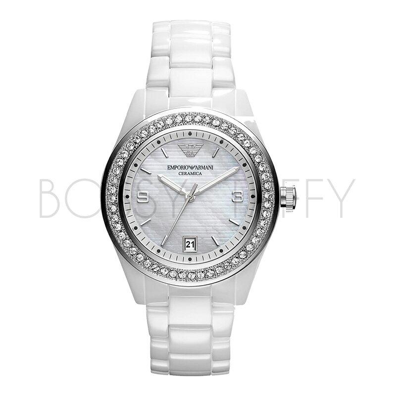 AR1426 ARMANI 亞曼尼 時尚間約白色陶瓷石英錶 女錶