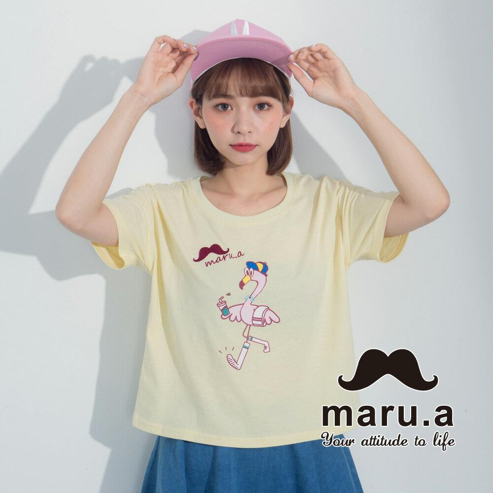 【maru.a】手繪紅鶴印花T-shirt7321237 2