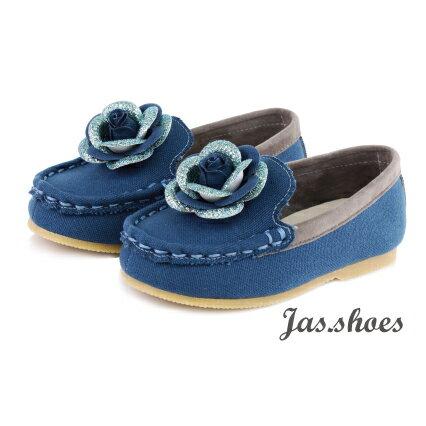 JASSHOES【JK0371】英國進口亮紋 日本酒袋布 莫卡辛 套入式 懶人鞋 童鞋 共2色-藏藍色