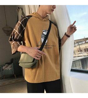 FINDSENSEH12018夏季個性卡通連帽T恤潮流寬鬆拼接格子短袖時尚男體恤五分袖上衣