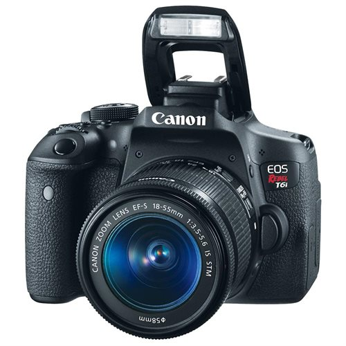 "Canon EOS Rebel T6i 24.2 Megapixel Digital SLR Camera with Lens - 18 mm - 55 mm - 3"" Touchscreen LCD - 16:9 - 3.1x Optical Zoom - E-TTL II - 6000 x 4000 Image - 1920 x 1080 Video - HDMI - HD Movie Mode - Wireless LAN 3"