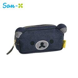 深藍款【日本正版】拉拉熊 牛仔布 筆袋 鉛筆盒 化妝包 收納包 懶懶熊 Rilakkuma San-X - 661485