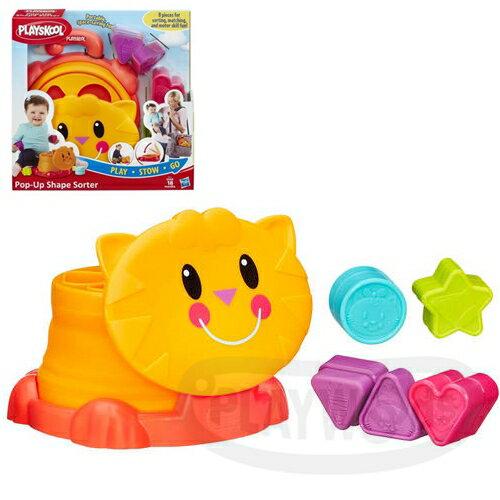 【Playwoods】[兒樂寶PLAYSKOOL]兒樂寶積木益智收納盒 Playskool Pop Up Shape Sorter(孩之寶Hasbro/辨識形狀/易於攜帶/貓貓造型)