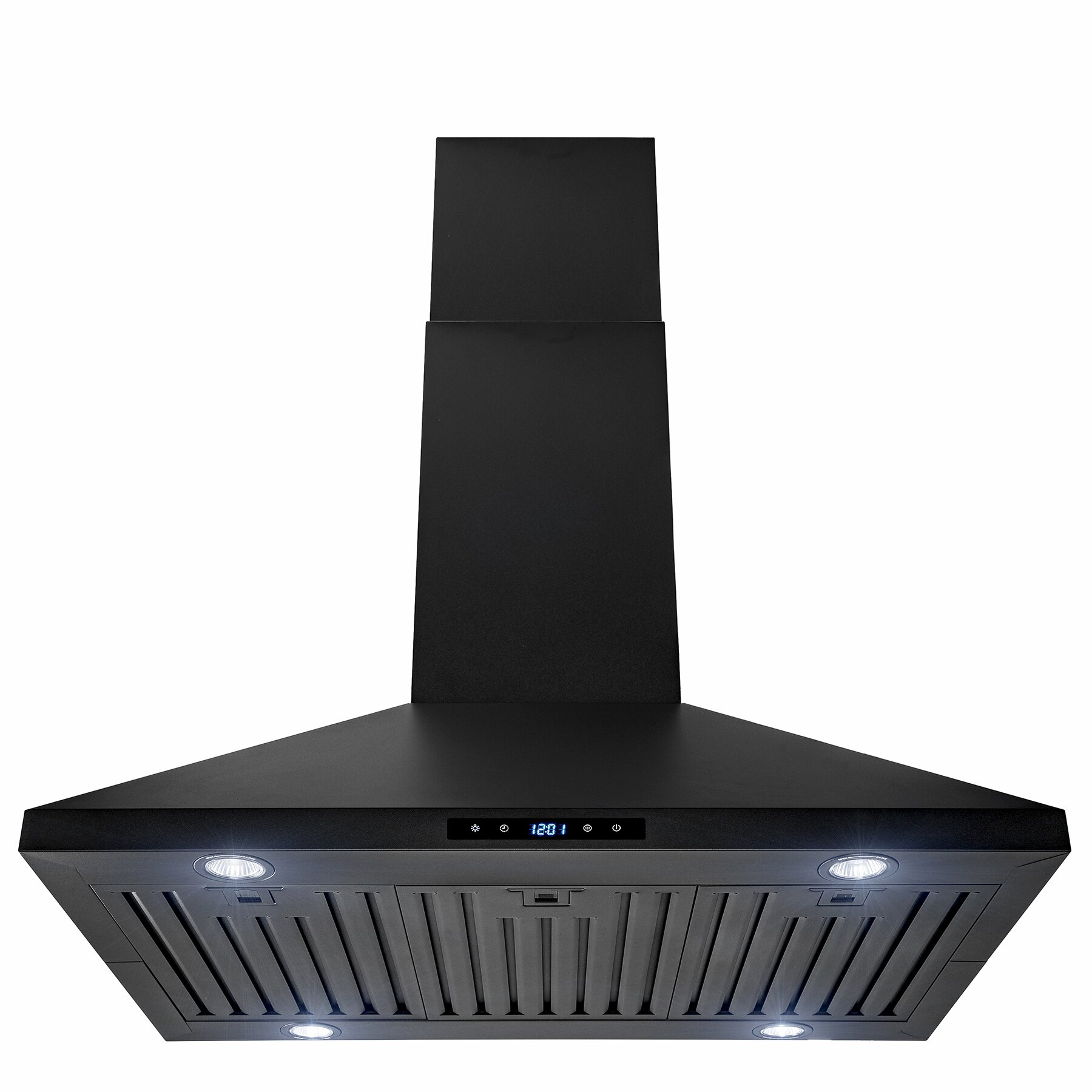 "AKDY 36"" Island Mount Black Stainless Steel Touch Panel Kitchen Range Hood Cooking Fan 0"