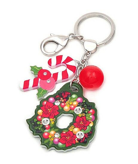 BHJ184-法國品牌Grain de Beaute 施華洛世奇晶鑽聖誕花環吊飾 鑰匙圈【韓國製】Aznavour