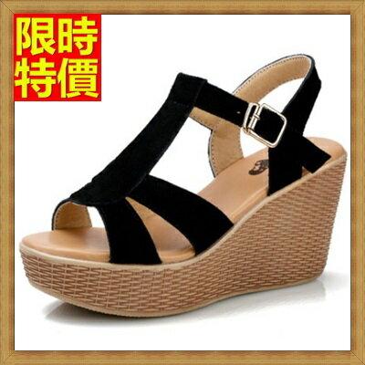 楔型涼鞋厚底涼鞋-時尚熱銷柔軟舒適真皮女坡跟涼鞋4色69w3【獨家進口】【米蘭精品】