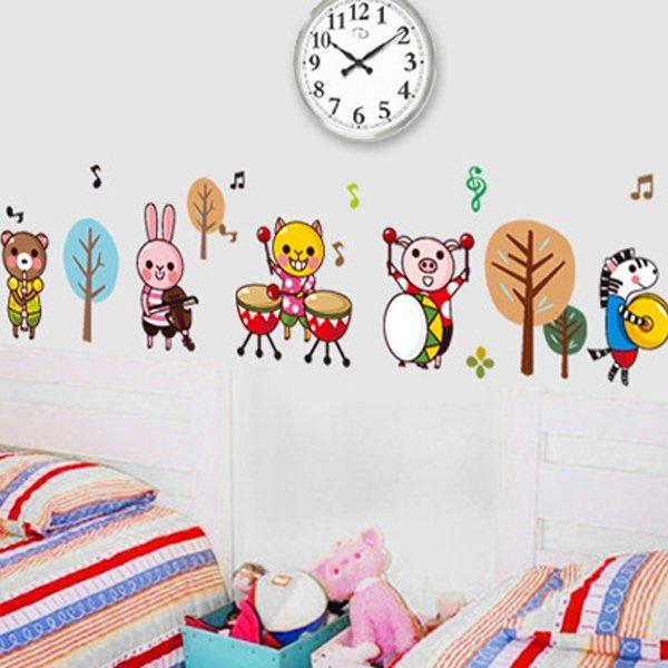 BO雜貨【YV0654】DIY時尚裝飾組合可移動壁貼 牆貼 壁貼 創意壁貼 動物樂隊AY7155
