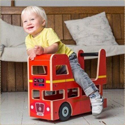 英國kiddimoto木製倫敦巴士造型推車【寶貝樂園】